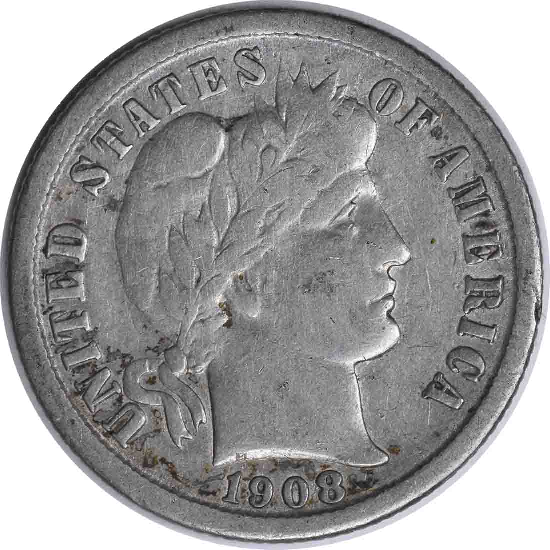 1908-O Barber Silver Dime Choice F Uncertified