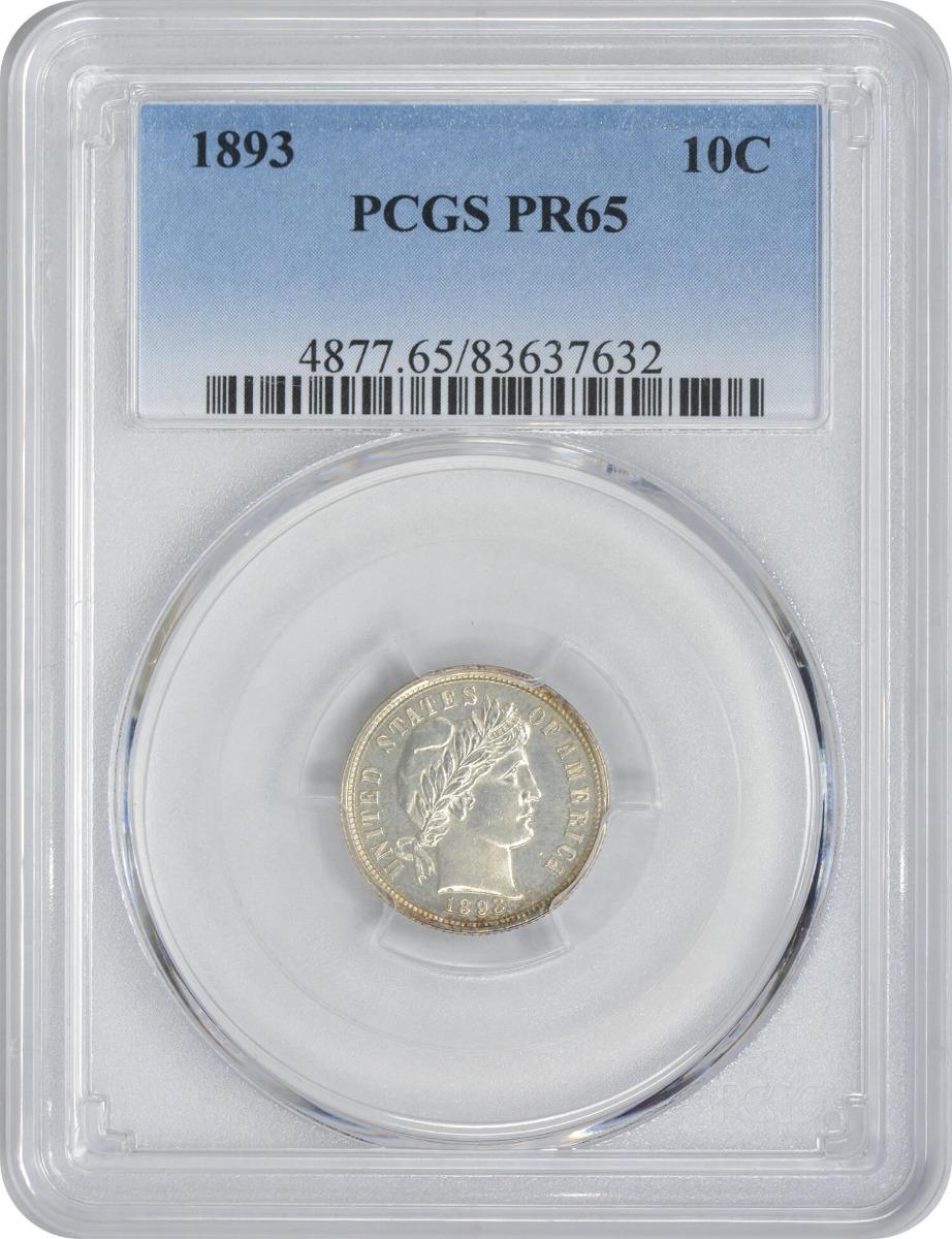 1893 Barber Silver Dime PR65 PCGS