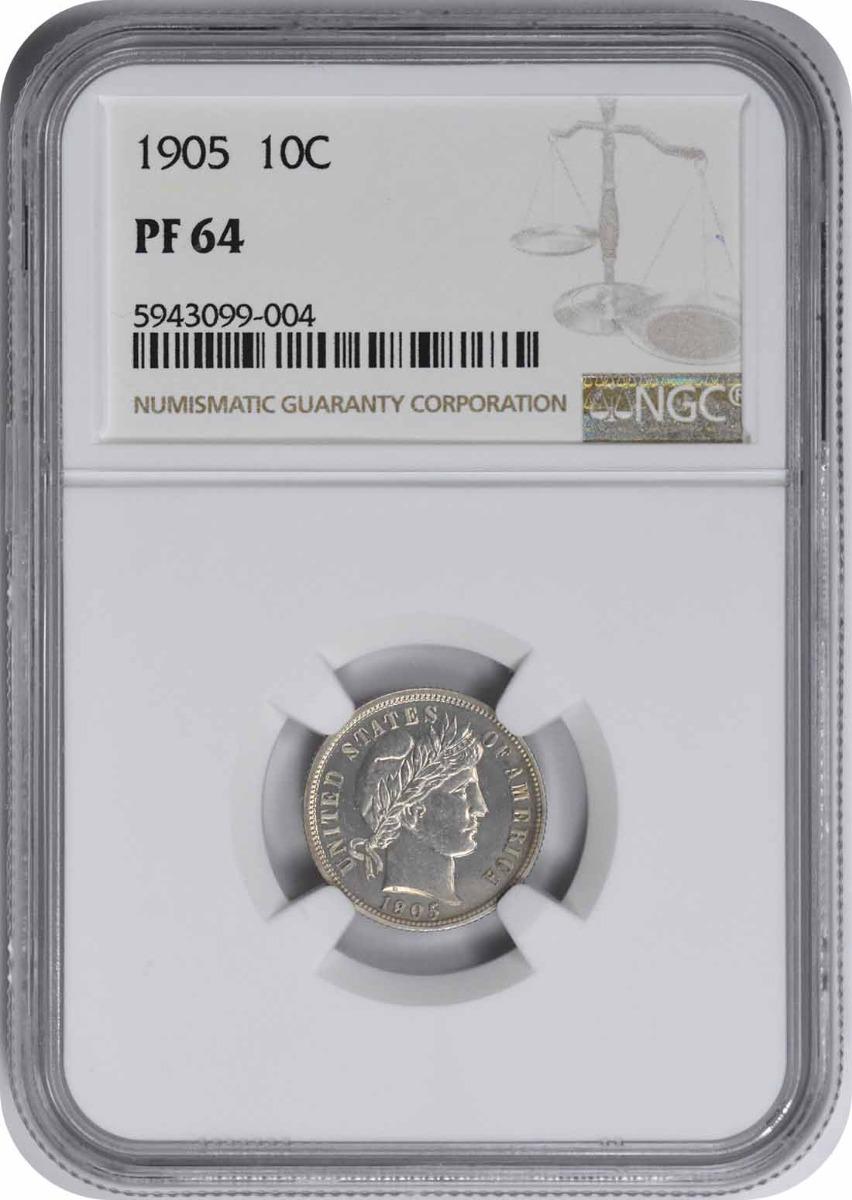1905 Barber Silver Dime PR64 NGC