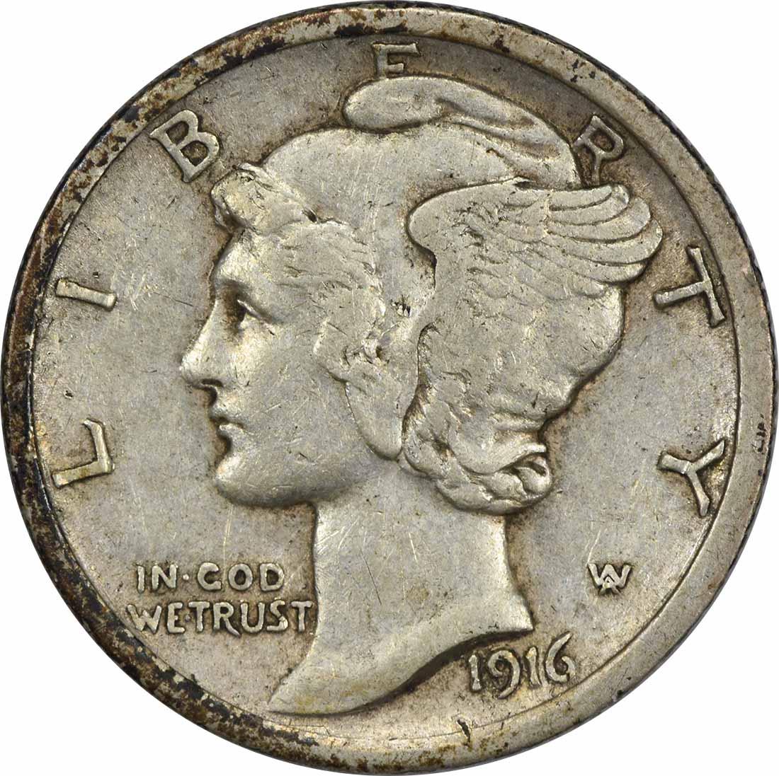 1916 Mercury Silver Dime EF Uncertified