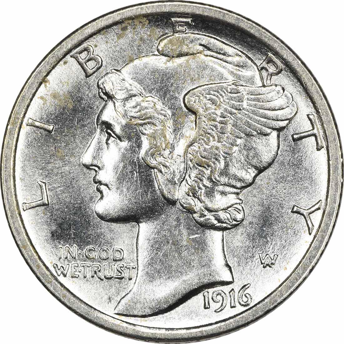 1916 Mercury Silver Dime MS63FSB Uncertified