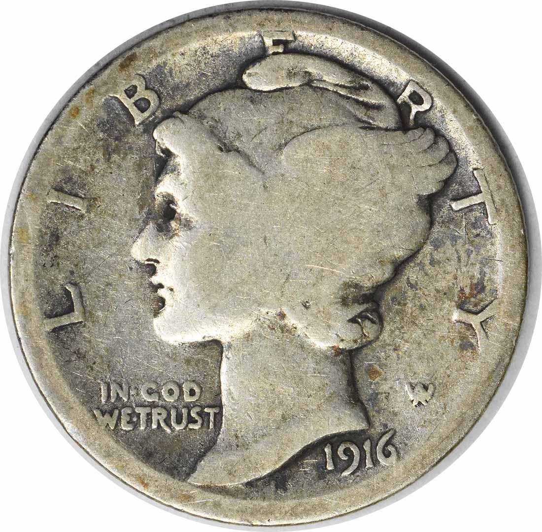 1916-D Mercury Silver Dime G Uncertified #1102