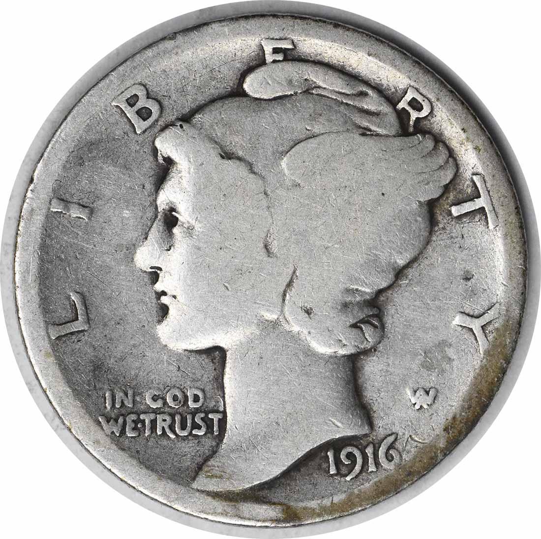 1916-D Mercury Silver Dime G Uncertified #1200