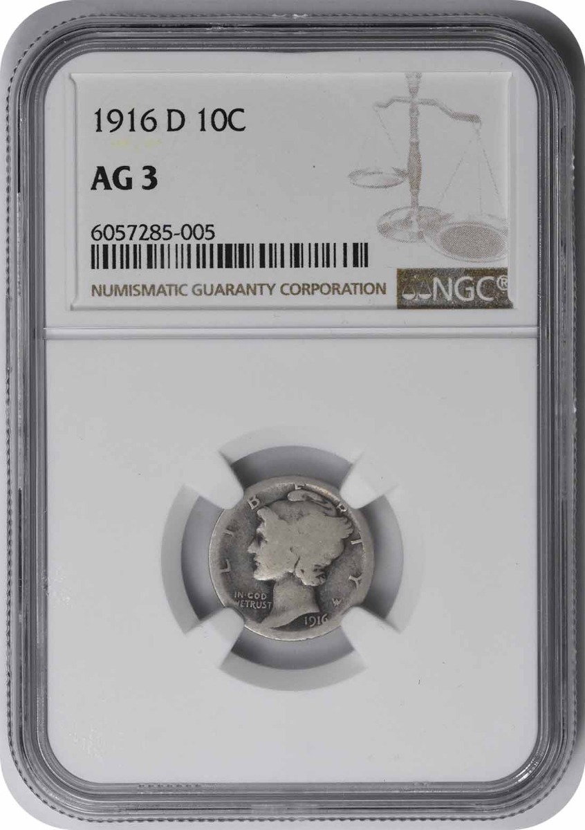 1916-D Mercury Silver Dime AG03 NGC