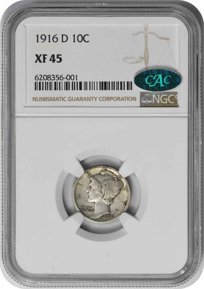 1916-D Mercury Silver Dime EF45 NGC (CAC)