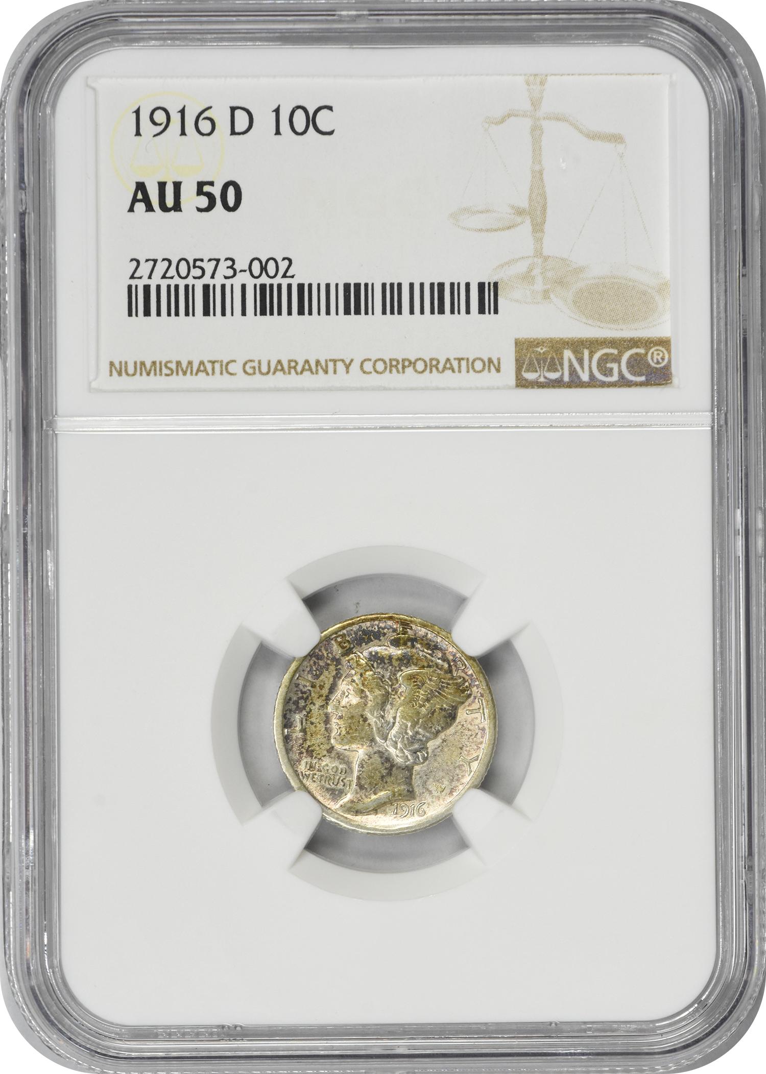 1916-D Mercury Silver Dime AU50 NGC