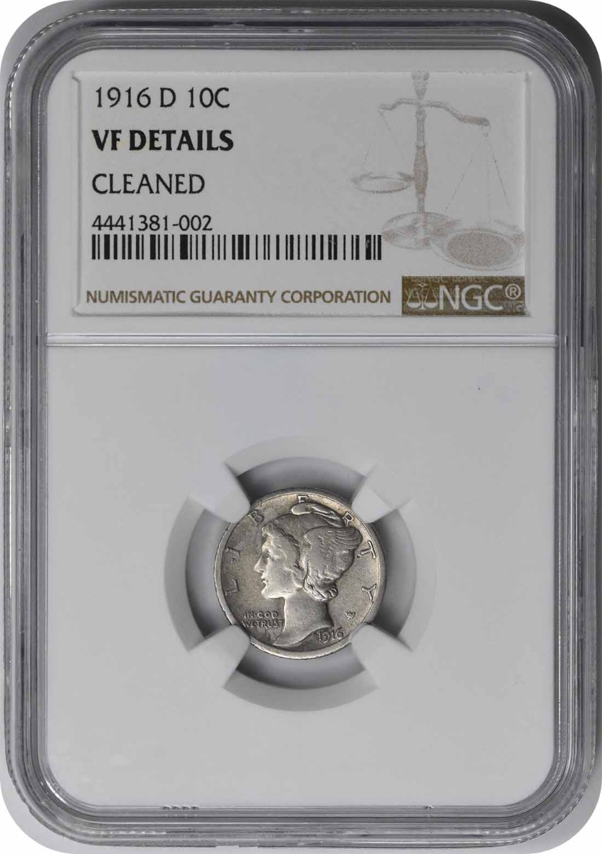 1916-D Mercury Silver Dime (VF Details - Cleaned) NGC