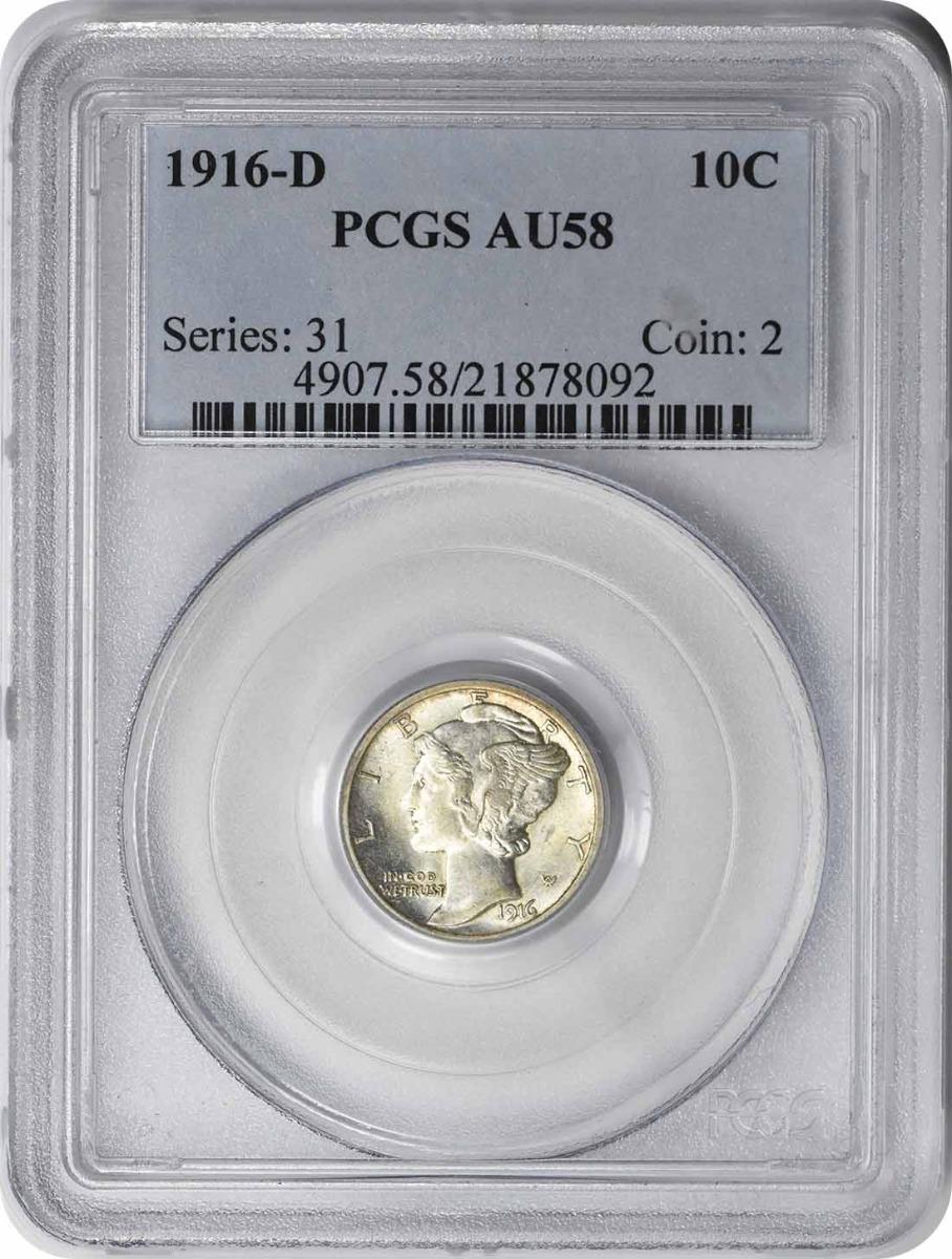 1916-D Mercury Silver Dime AU58 PCGS