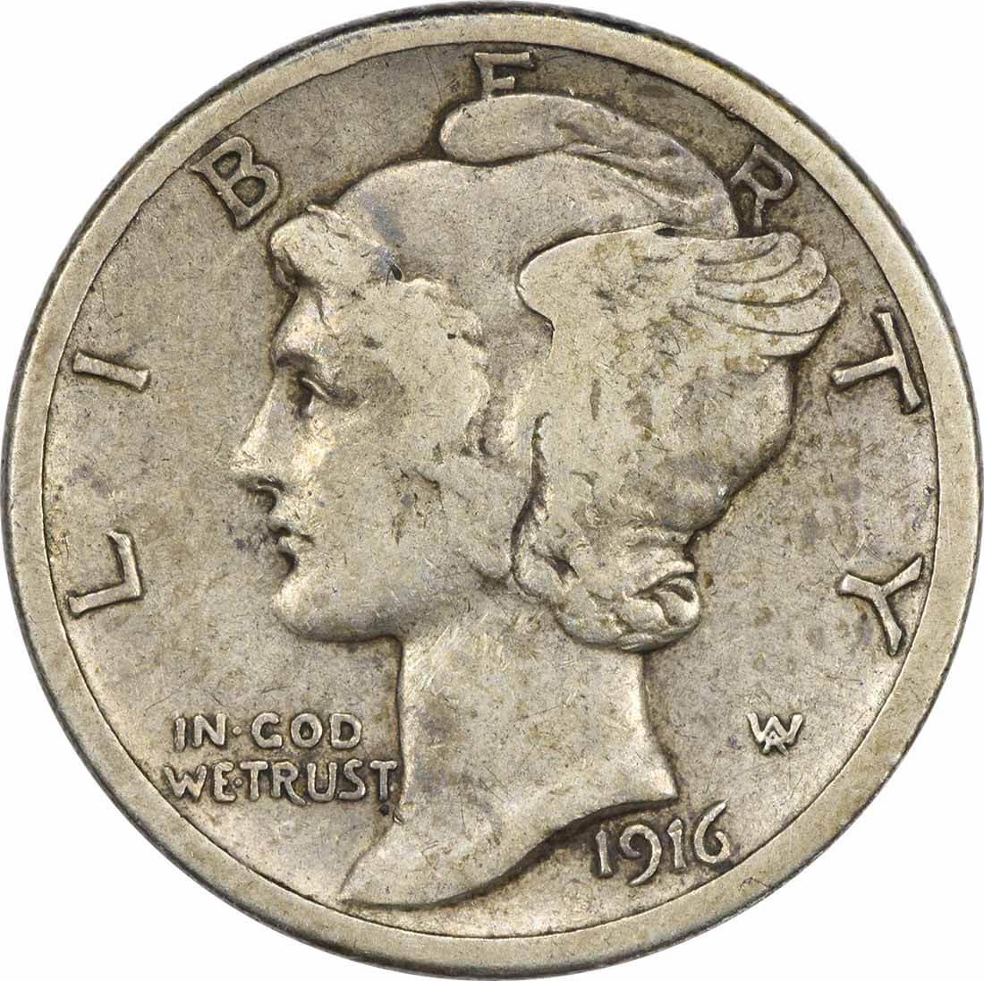 1916-S Mercury Silver Dime VF Uncertified