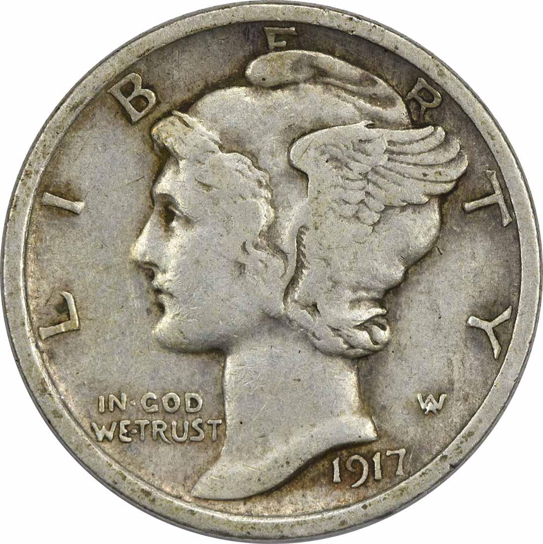 1917 Mercury Silver Dime EF Uncertified