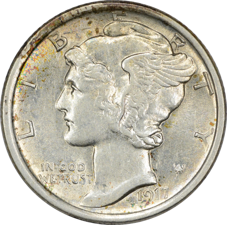 1917-D Mercury Silver Dime AU58 Uncertified