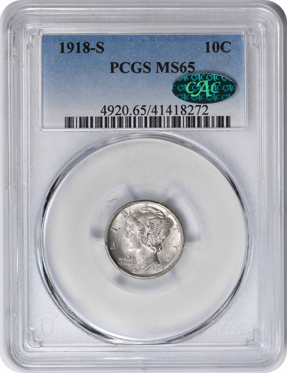 1918-S Mercury Silver Dime MS65 PCGS (CAC)