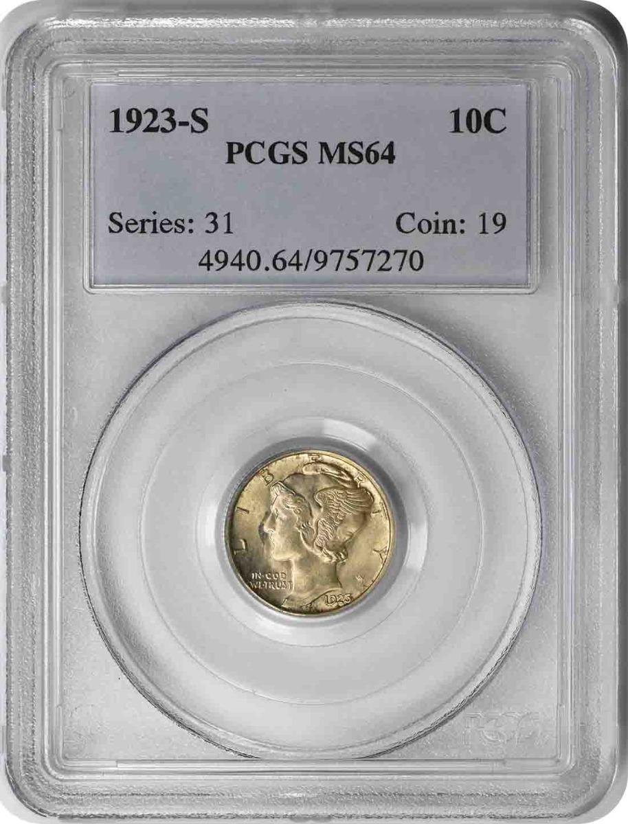 1923-S Mercury Silver Dime MS64 PCGS