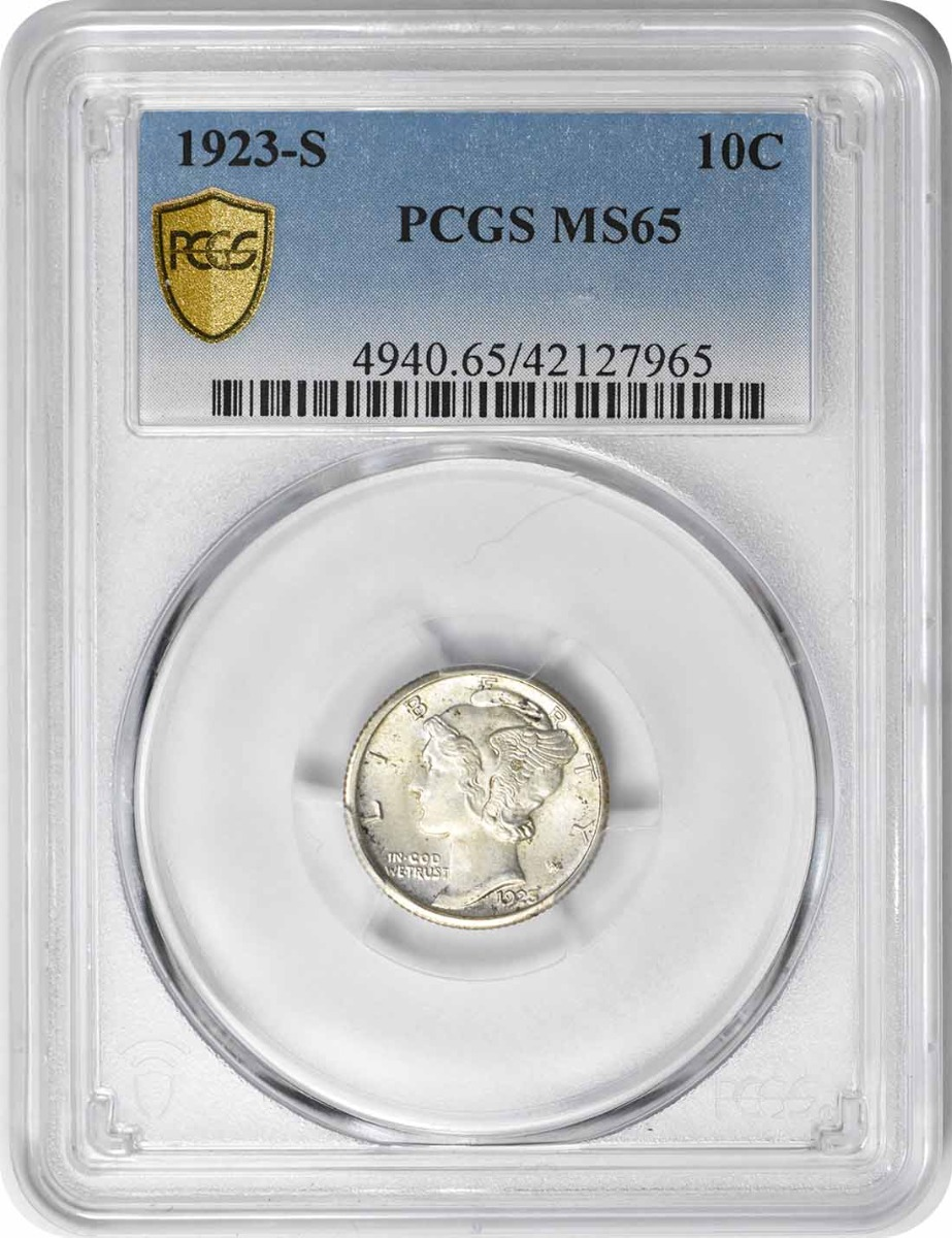 1923-S Mercury Silver Dime MS65 PCGS
