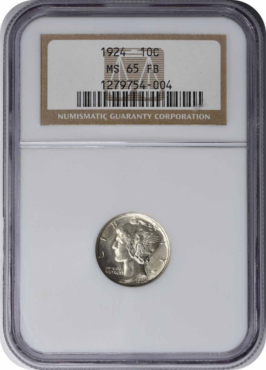 1924 Mercury Silver Dime MS65FB NGC