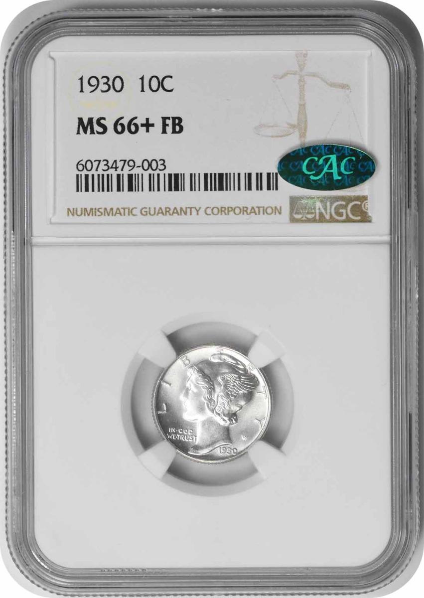 1930 Mercury Silver Dime MS66+FB NGC (CAC)