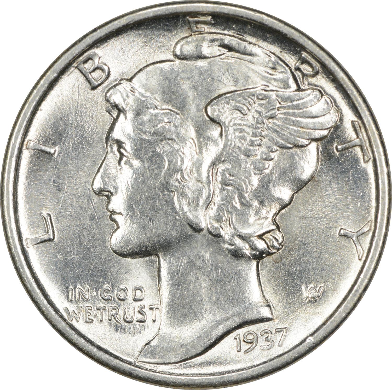 Uncertified 1937-P Mercury Dime Choice BU