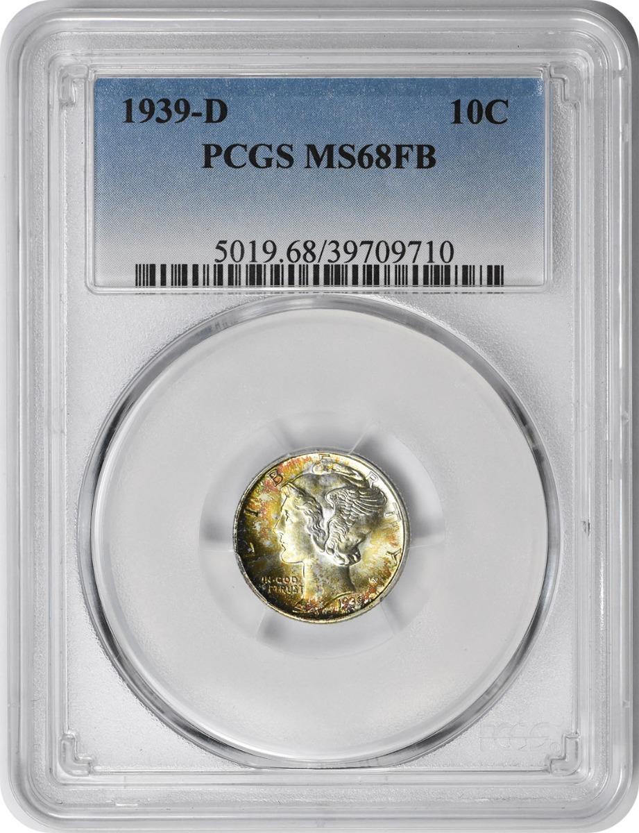 1939-D Mercury Silver Dime MS68FB PCGS