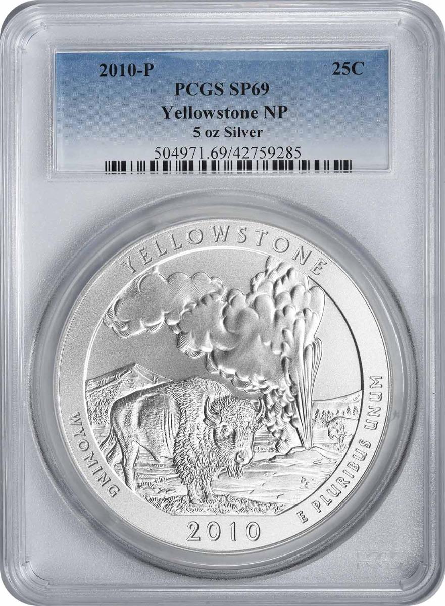 2010-P 5 oz Silver Yellowstone National Park America the Beautiful Quarter SP69 PCGS