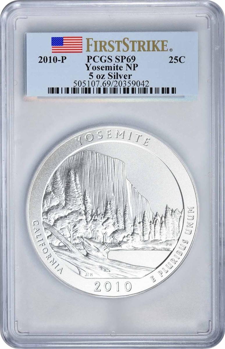 2010-P 5 oz Silver Yosemite National Park America the Beautiful Quarter SP69 First Strike PCGS