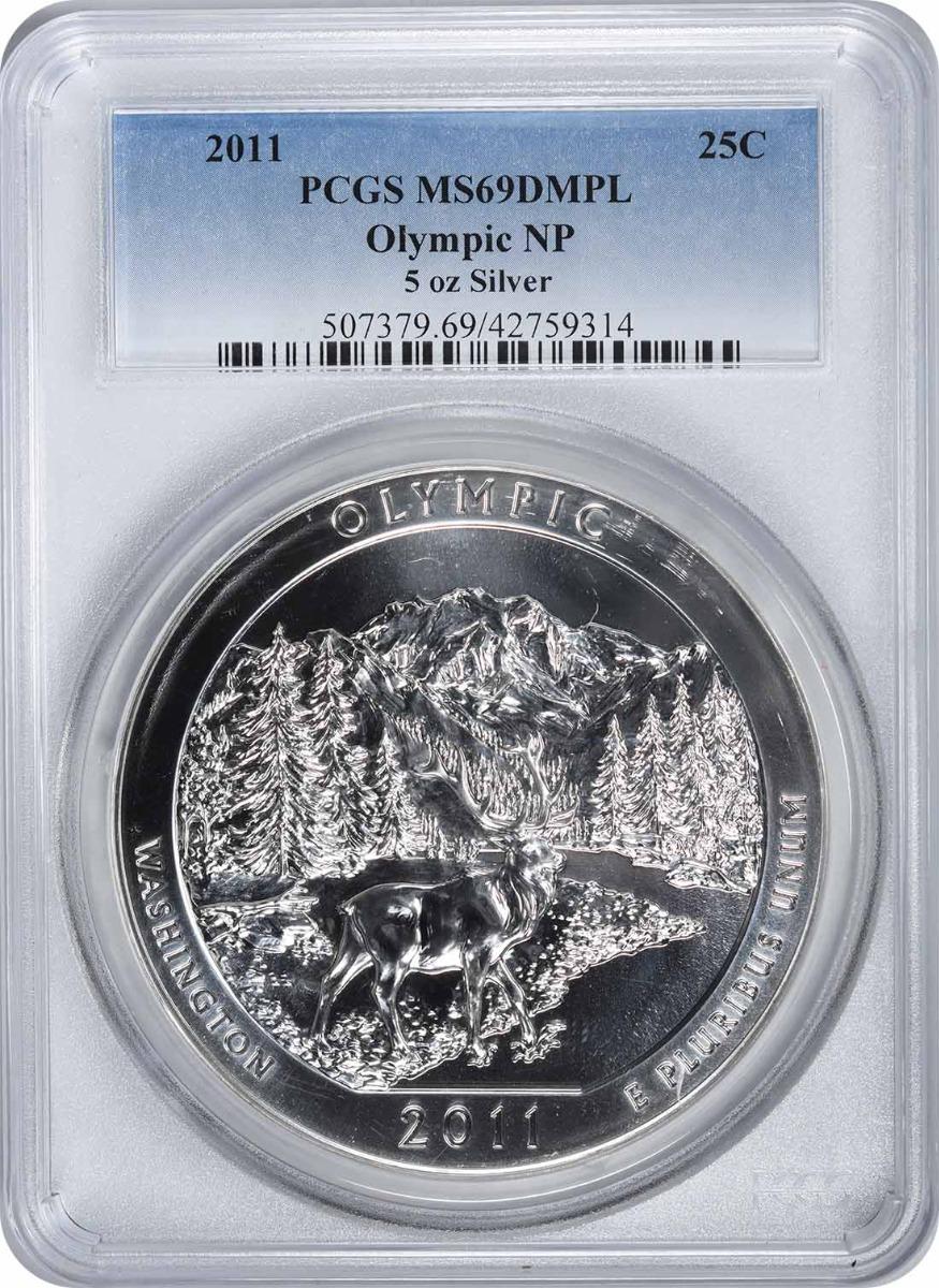 2011 5 oz Silver Olympic National Park America the Beautiful Quarter MS69DMPL PCGS