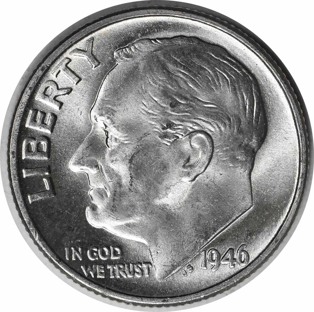 1946 Roosevelt Silver Dime DDO 1-O-II MS64 Uncertified