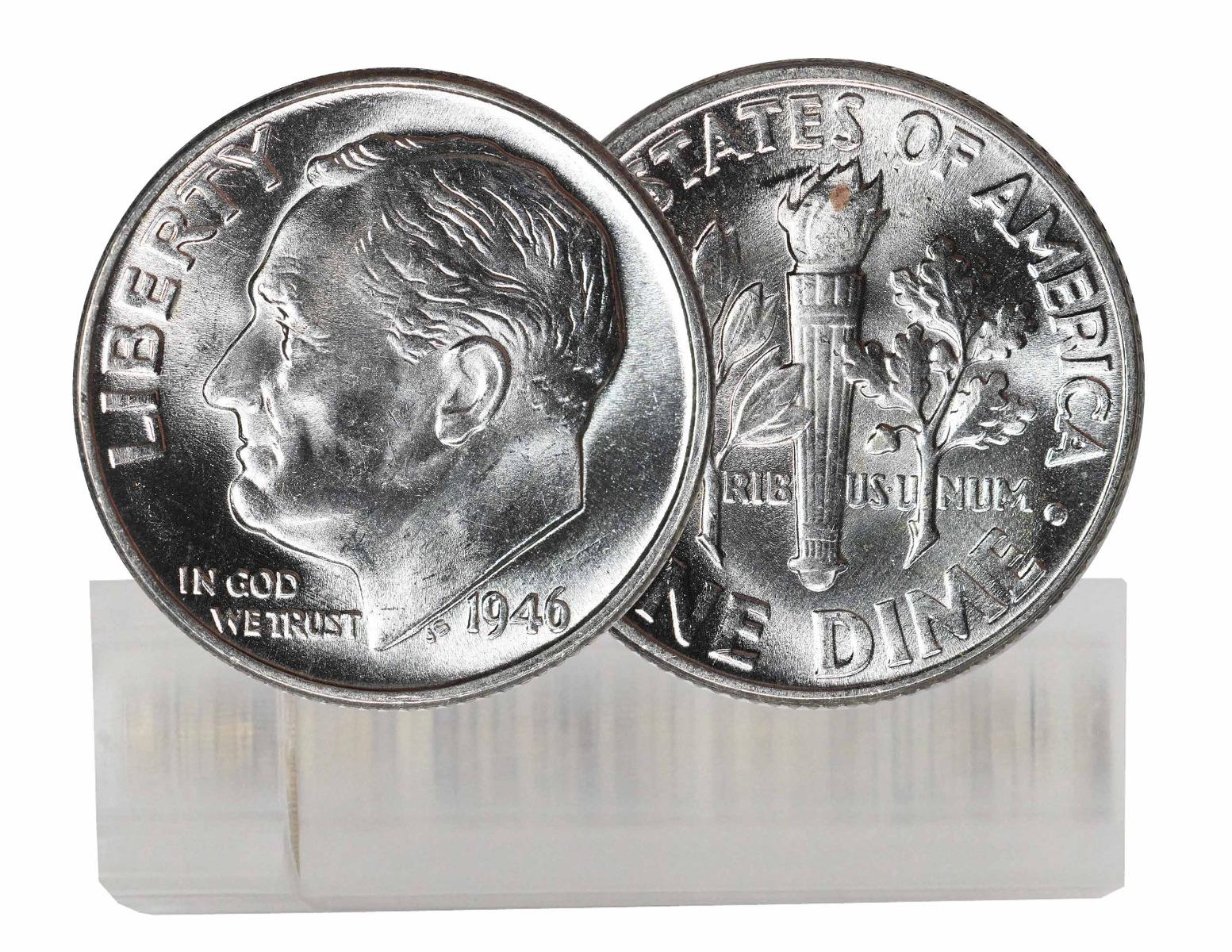 1946-P BU Silver Roosevelt Dime 50-Coin Roll