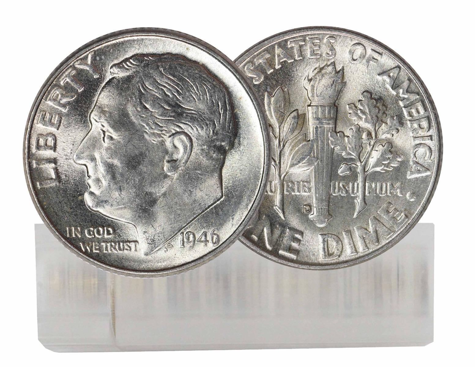 1946-D BU Silver Roosevelt Dime 50-Coin Roll