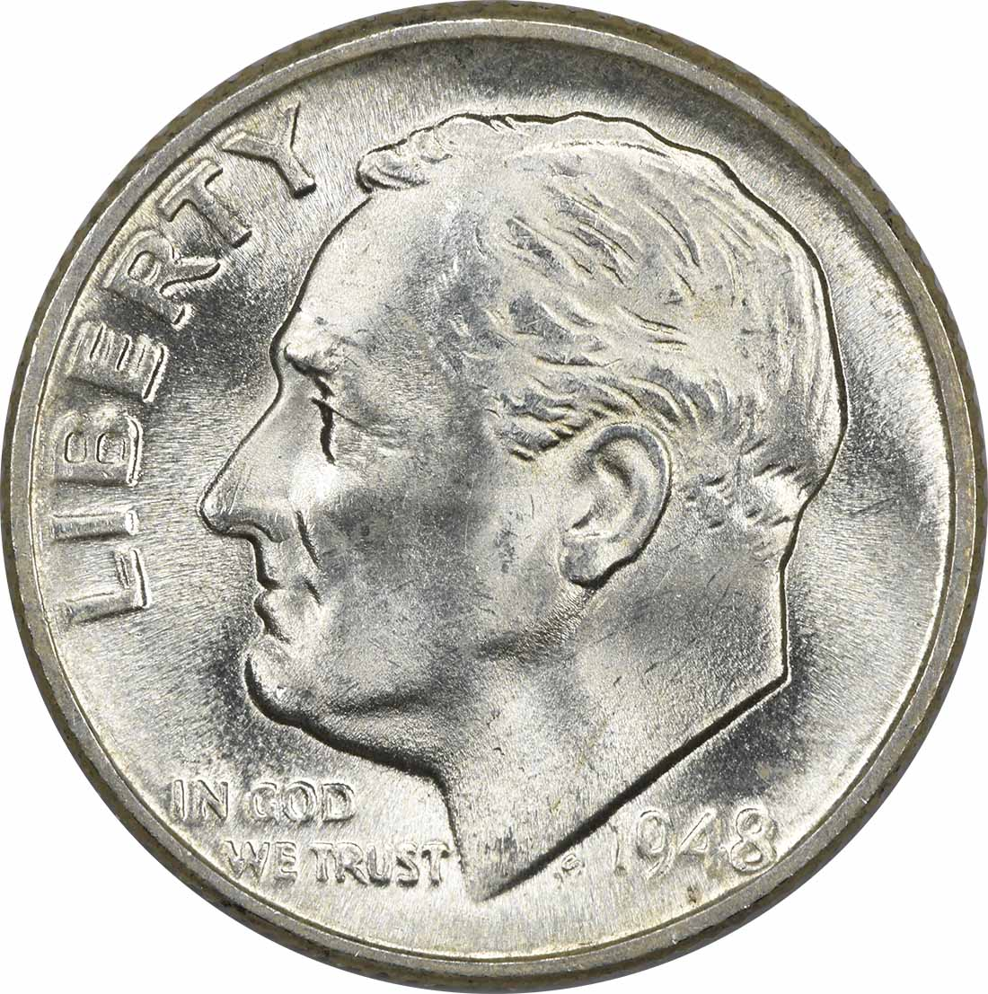 1948-D Roosevelt Silver Dime MS63 Uncertified