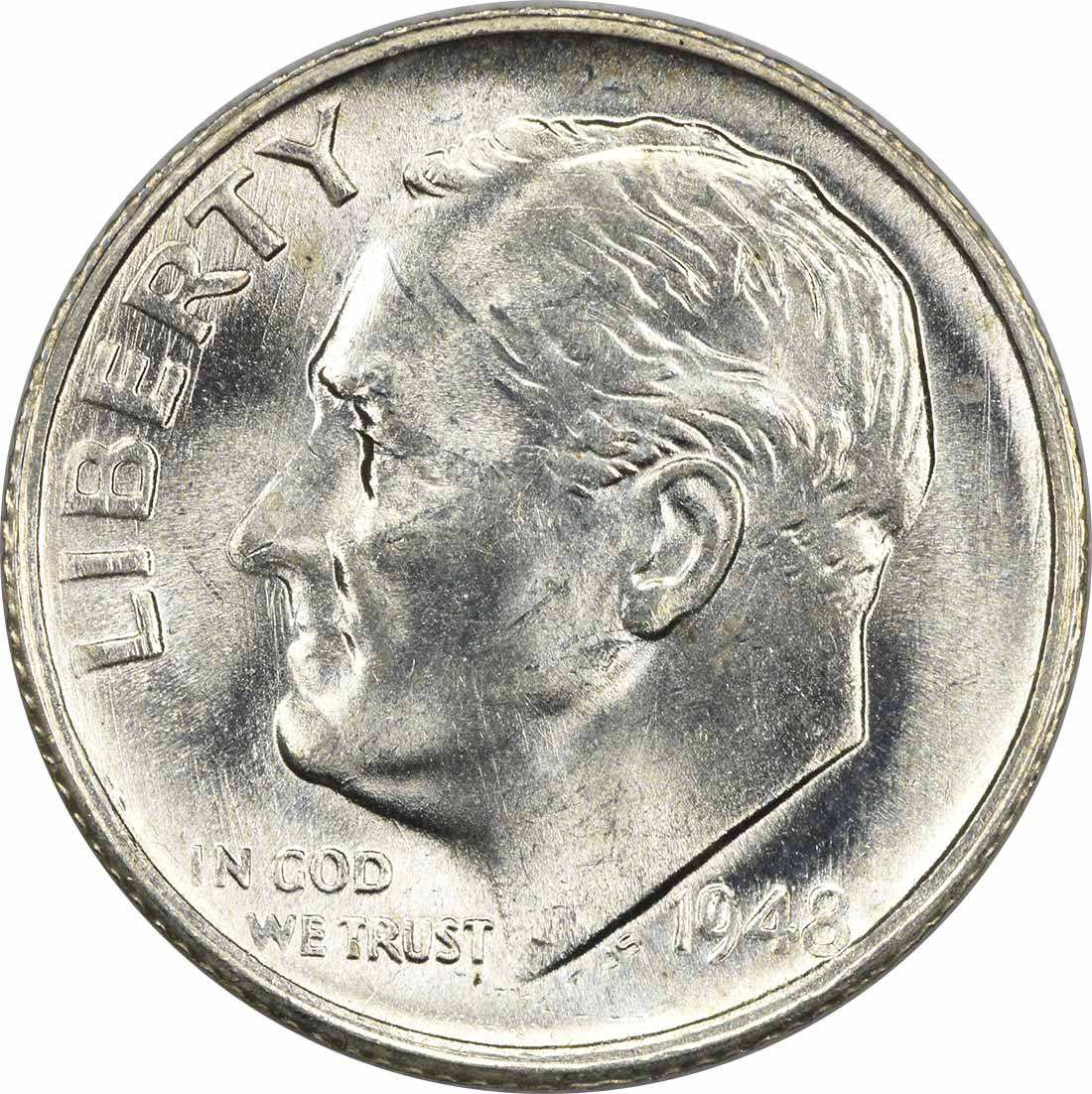 1948-S Roosevelt Silver Dime MS63 Uncertified