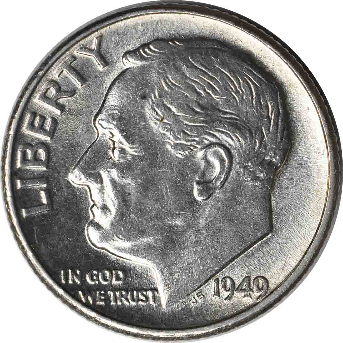 1949 Roosevelt Silver Dime AU58 Uncertified
