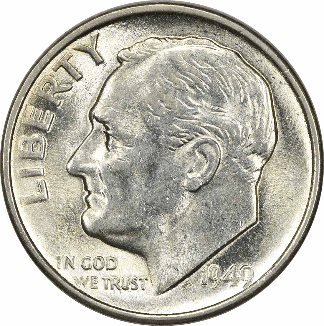 1949-S Roosevelt Silver Dime AU58 Uncertified