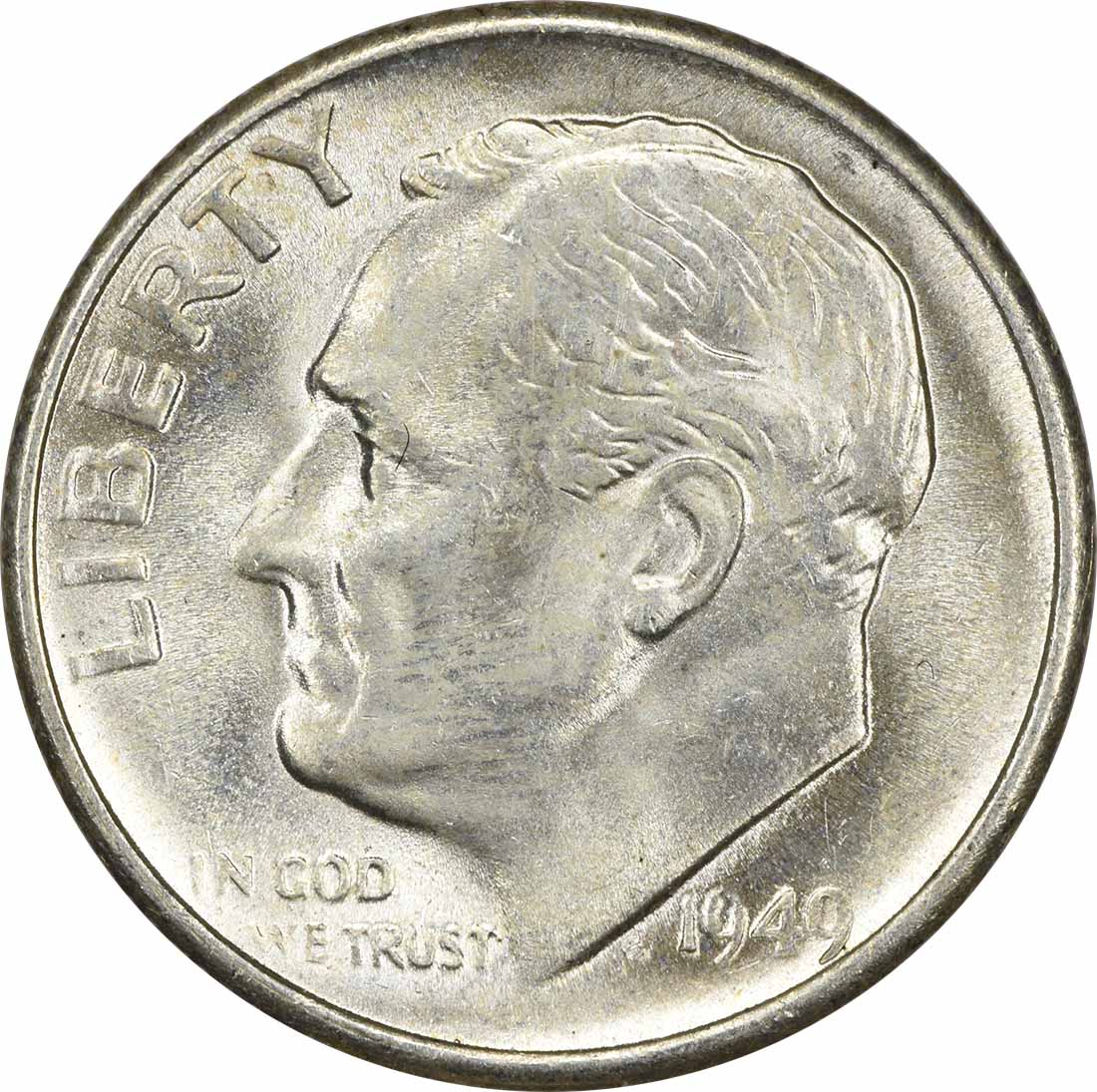 1949-S Roosevelt Silver Dime MS63 Uncertified