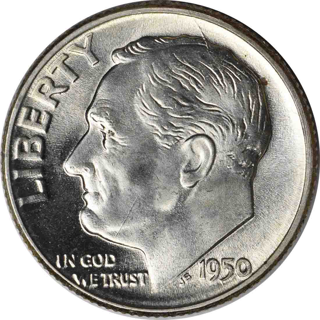 1950 Roosevelt Silver Dime MS65 Uncertified