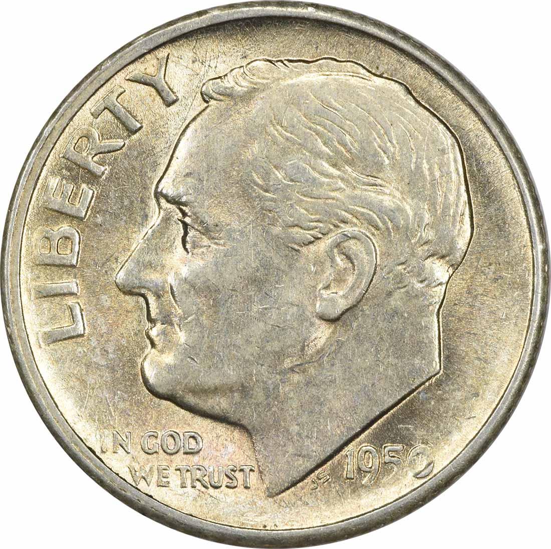 1950-S Roosevelt Silver Dime AU58 Uncertified