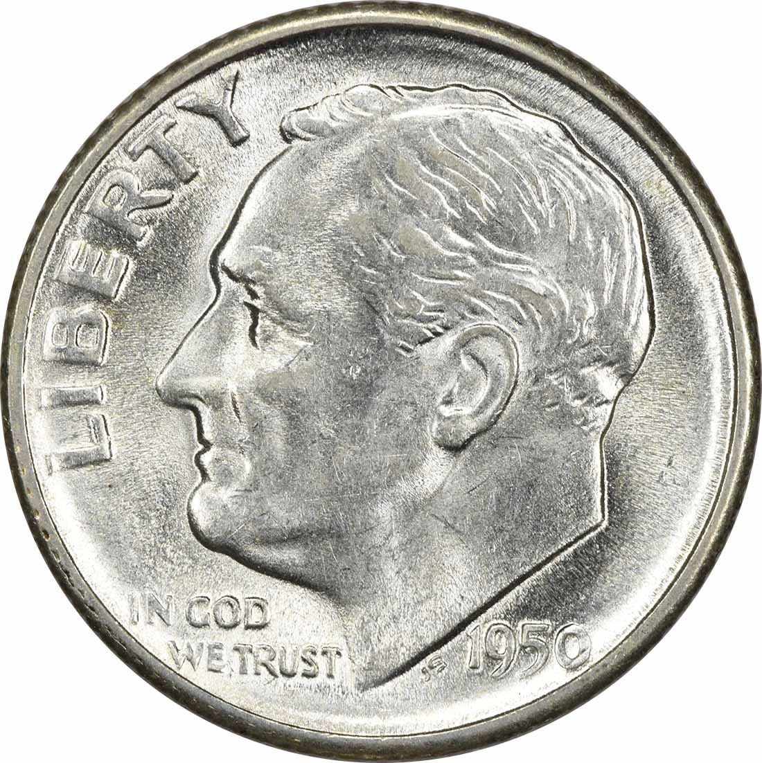 1950-S Roosevelt Silver Dime MS63 Uncertified