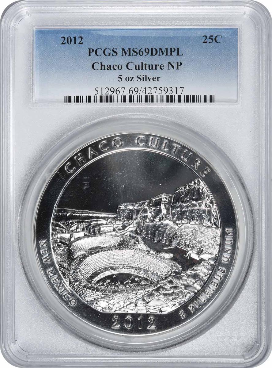 2012 5 oz Silver Chaco Culture National Park America the Beautiful Quarter MS69DMPL PCGS