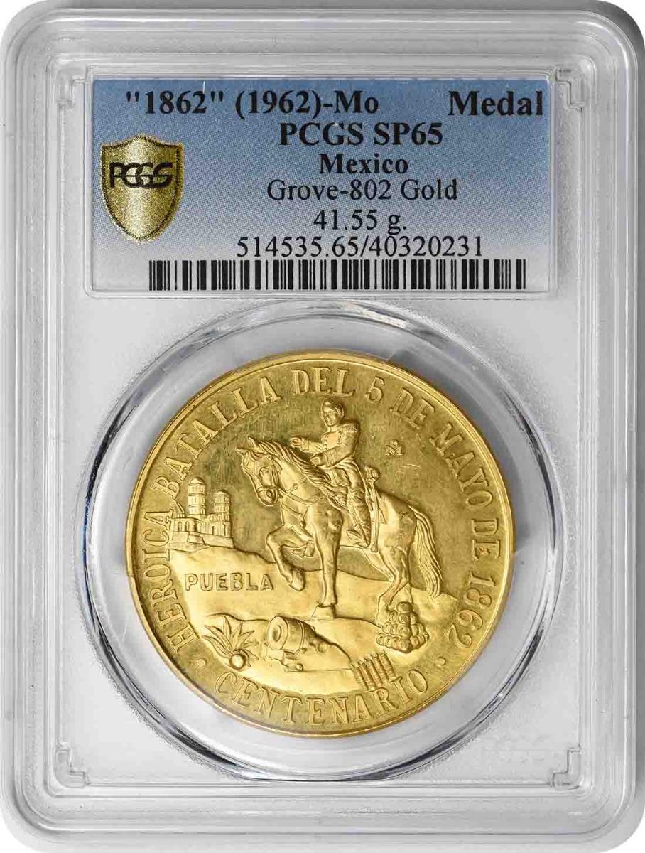 (1962) Mexico Gold Medal 41.55g GW SP65 PCGS