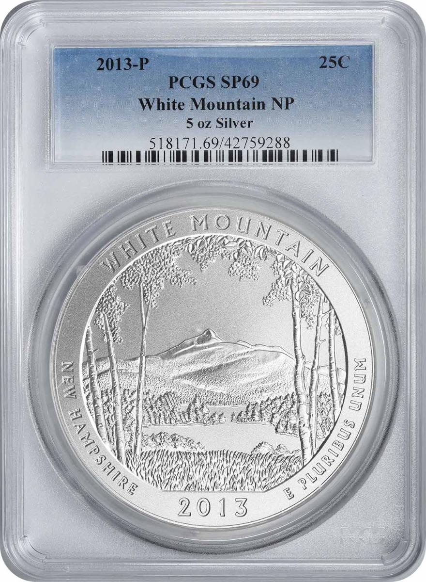 2013-P 5 oz Silver White Mountain National Park America the Beautiful Quarter SP69 PCGS