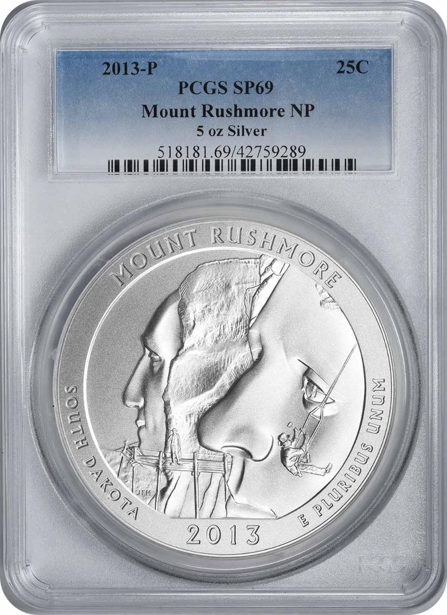 2013-P 5 oz Silver Mount Rushmore National Park America the Beautiful Quarter SP69 PCGS