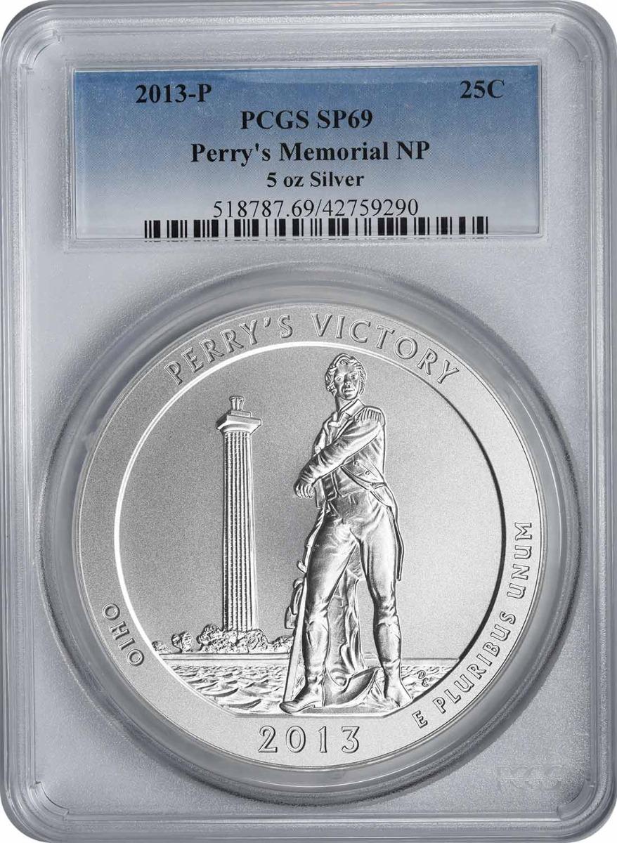 2013-P 5 oz Silver Perry's Memorial National Park America the Beautiful Quarter SP69 PCGS