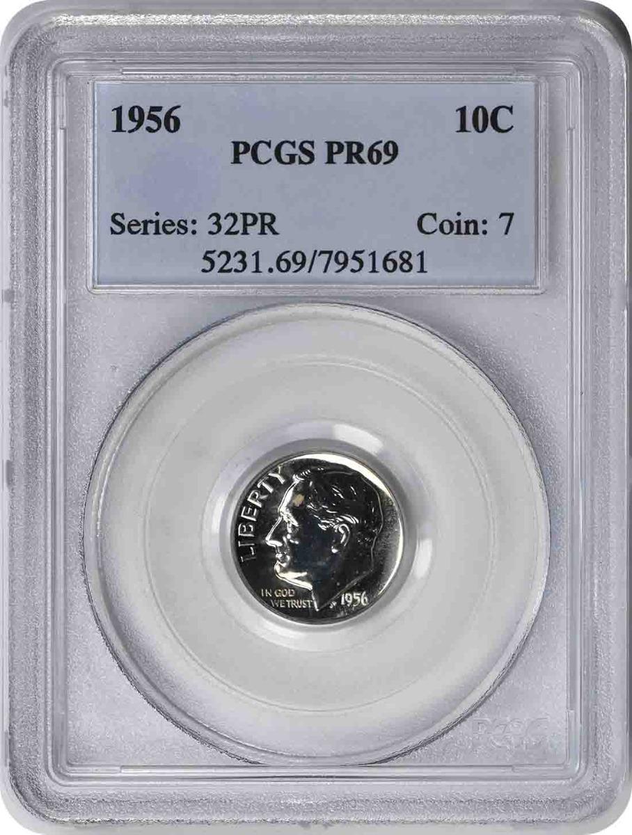 1956 Roosevelt Silver Dime PR69 PCGS