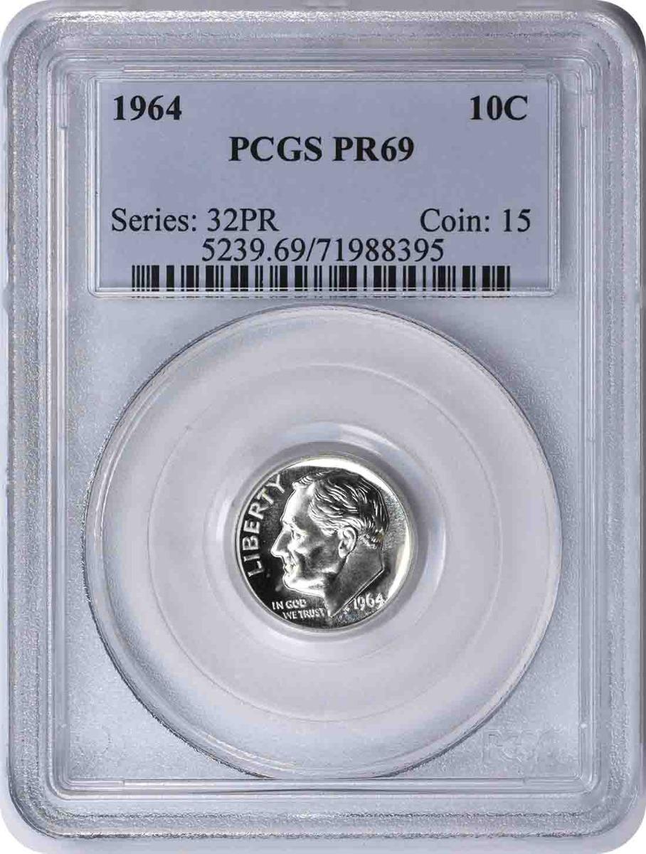 1964 Roosevelt Silver Dime PR69 PCGS