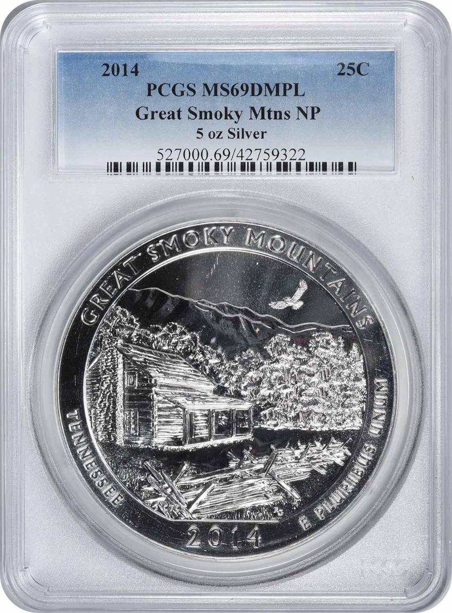 2014 5 oz Silver Great Smoky Mountains National Park America the Beautiful Quarter MS69DMPL PCGS