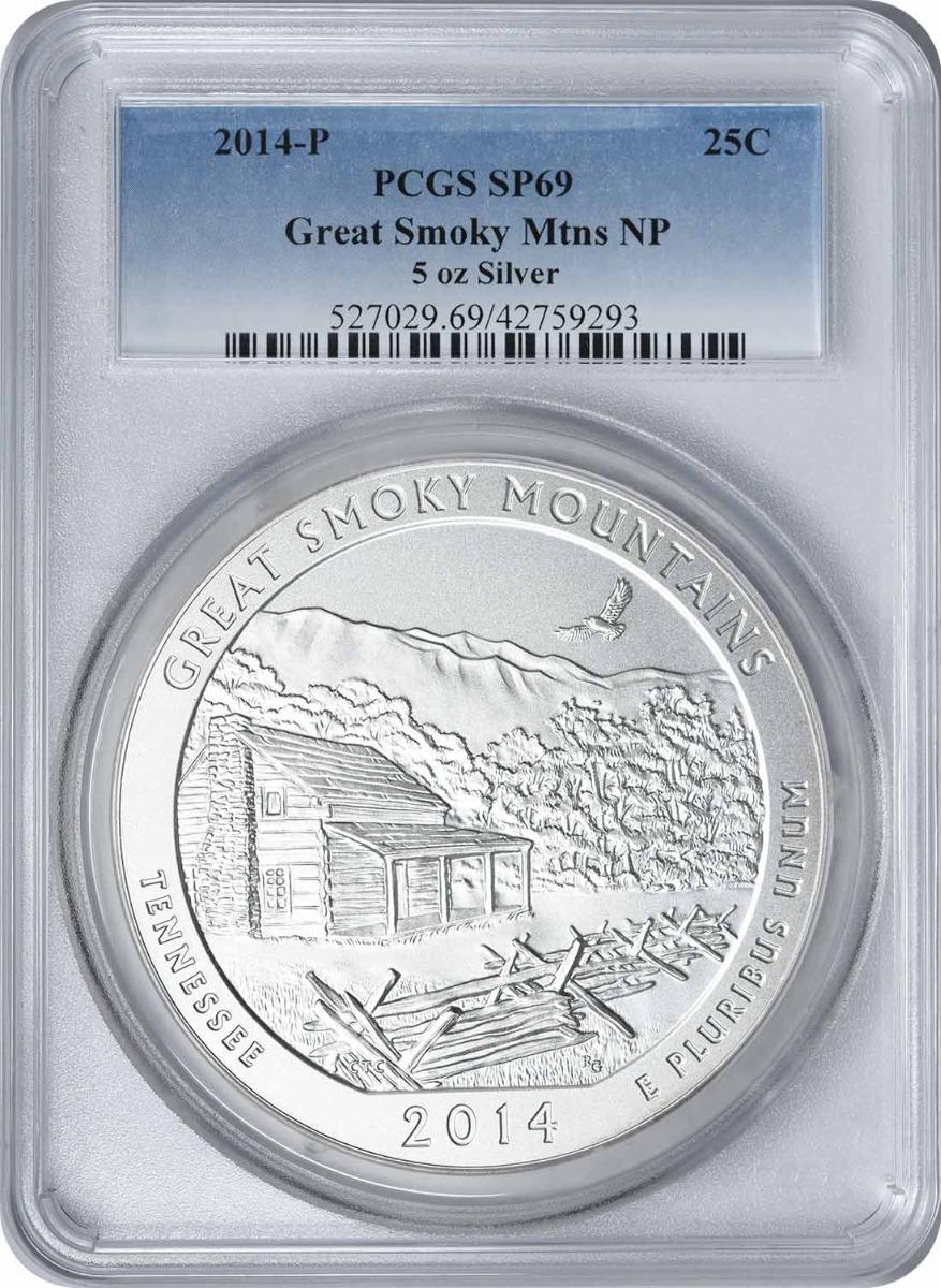 2014-P 5 oz Silver Great Smoky Mountains National Park America the Beautiful Quarter SP69 PCGS