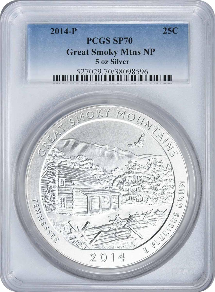 2014-P 5oz. Great Smoky Mountains National Park America the Beautiful Silver Quarter SP70 PCGS
