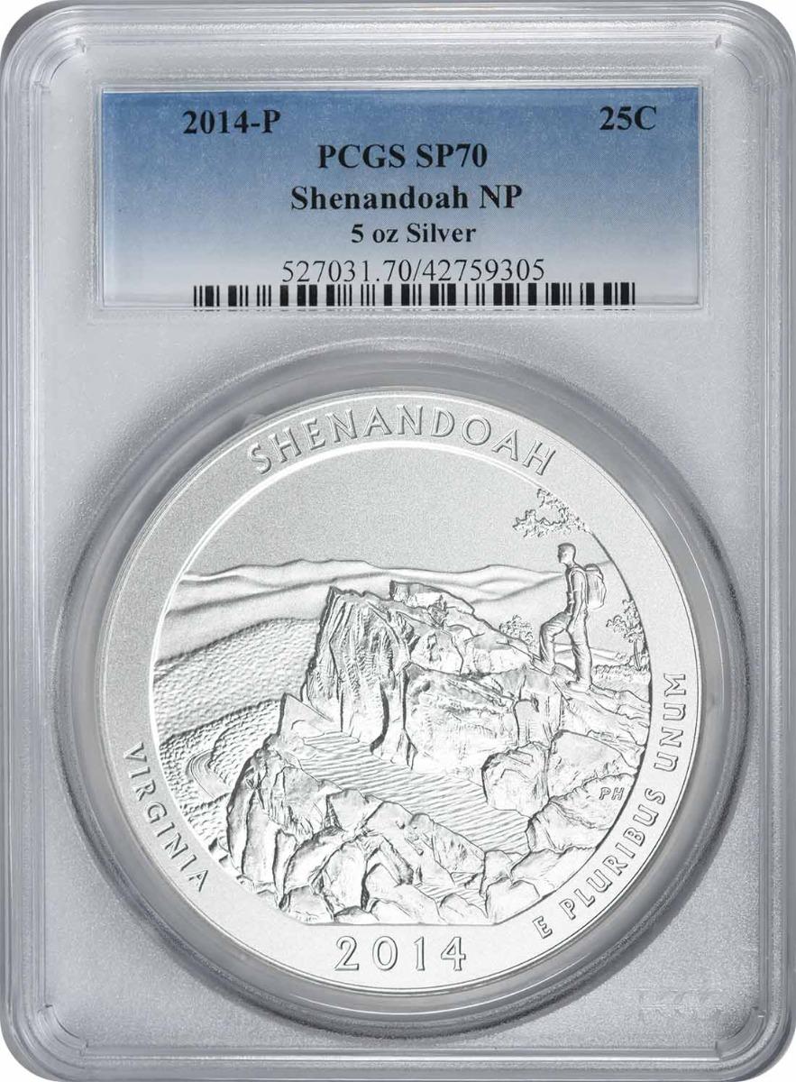 2014-P 5 oz Silver Shenandoah National Park America the Beautiful Quarter SP70 PCGS