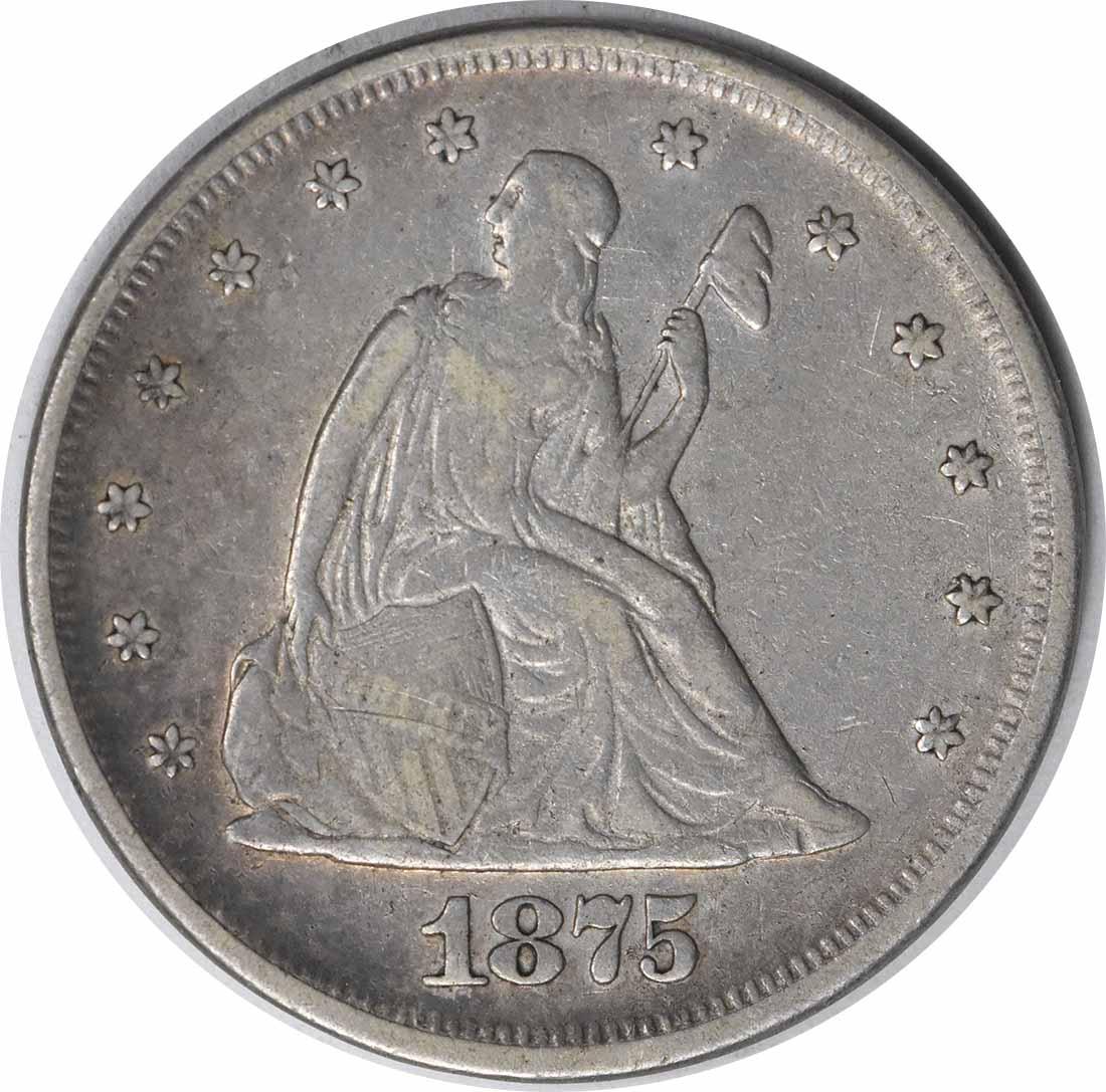 1875 Twenty Cent Silver Piece Choice VF Uncertified #141
