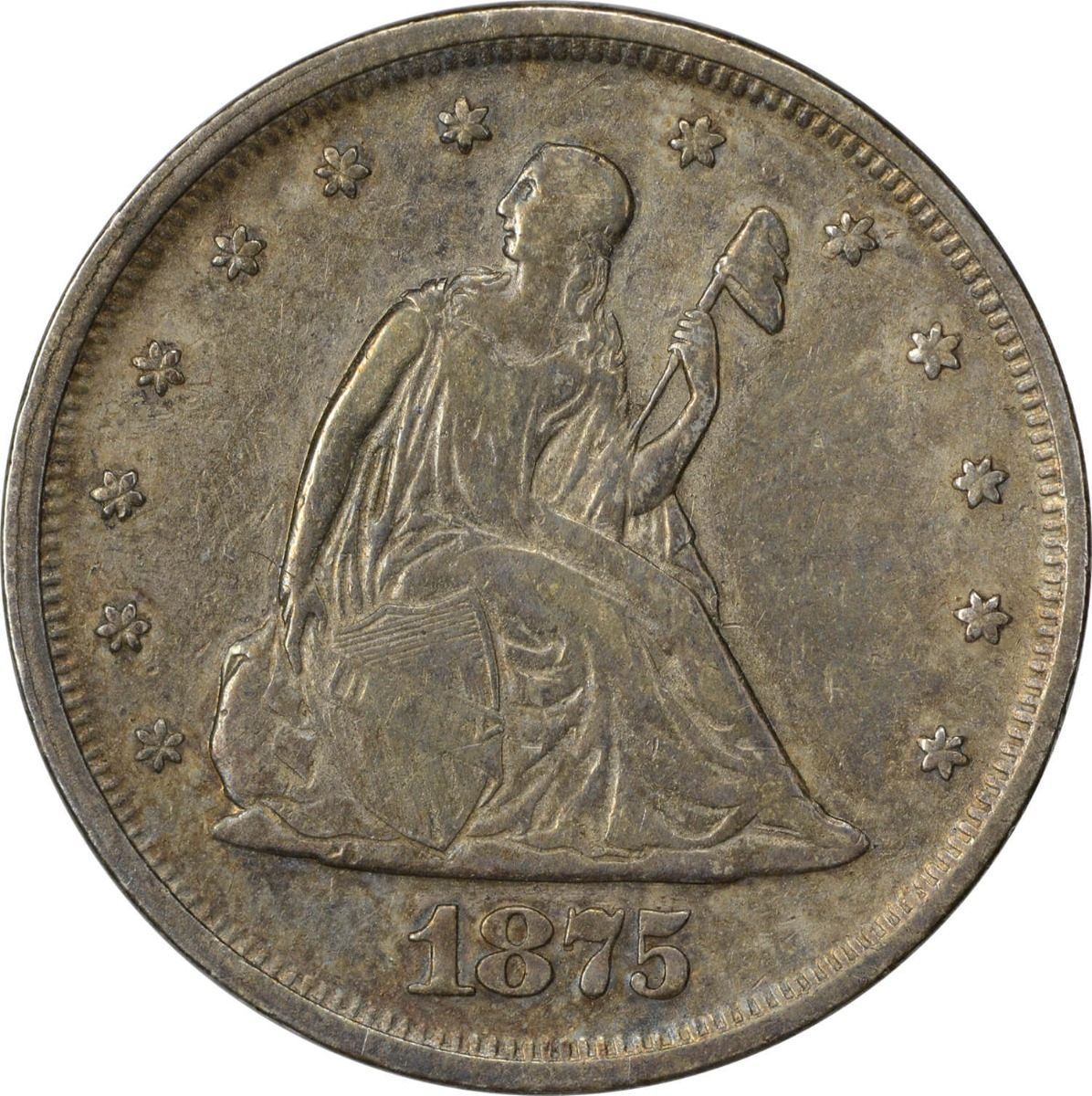 1875 Twenty Cent Silver Piece VF Uncertified