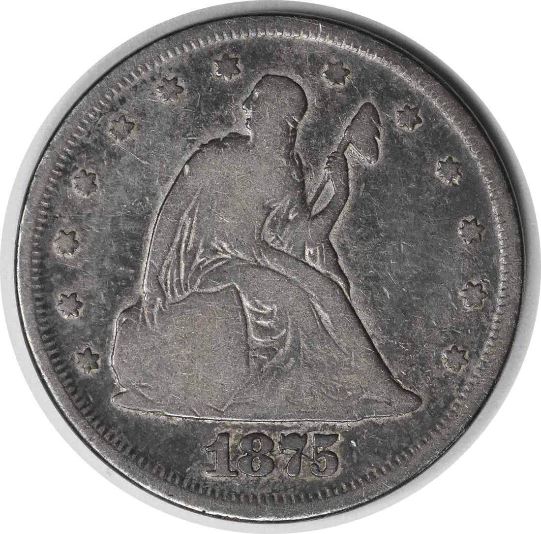 1875 Twenty Cent Silver Piece VG Uncertified #930